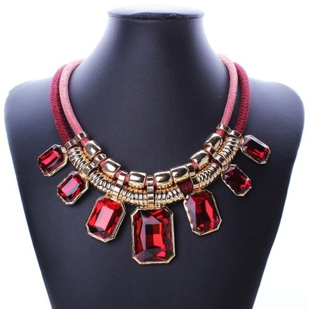 Serafina Red Cube Shimmer Corded Layered Bib Statement Necklace
