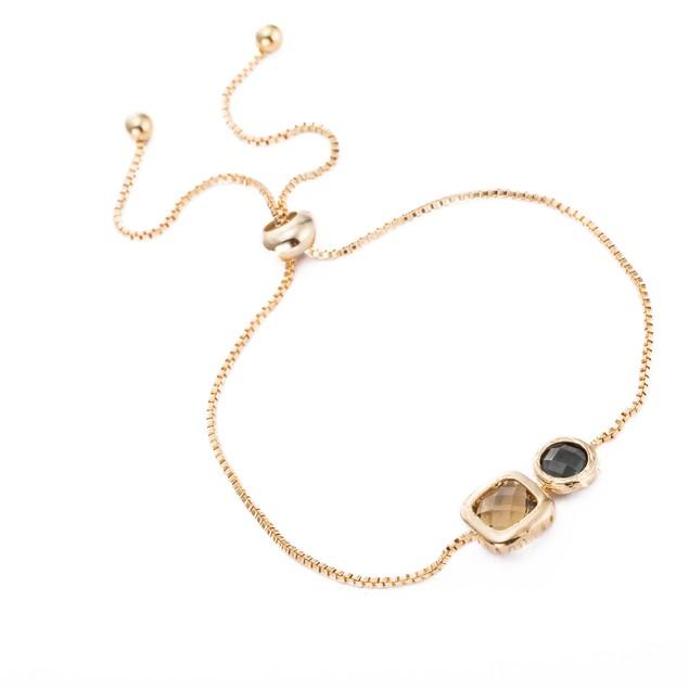 Gold Plated Duo Citrine Gem Bracelet