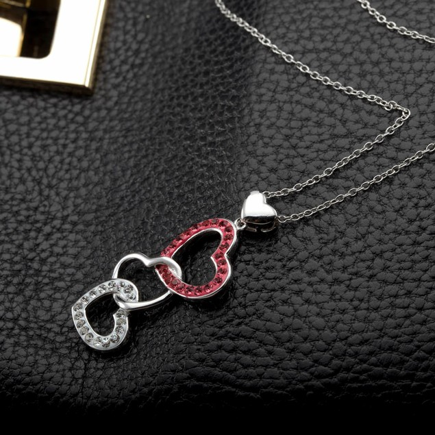Triple Crystal Heart Necklace
