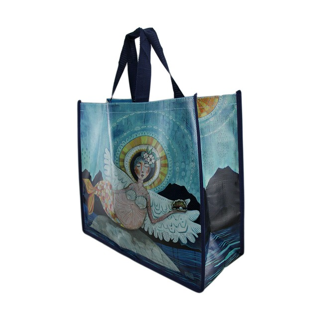 Allen Designs Blue Mermaid Angel Durable Coated Womens Tote Bags