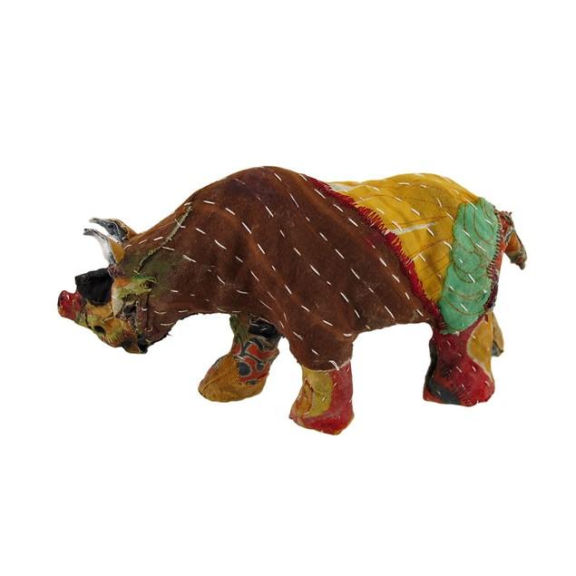 Vintage Sari Fabric Decorated Paper Mache Rhino Sculptures