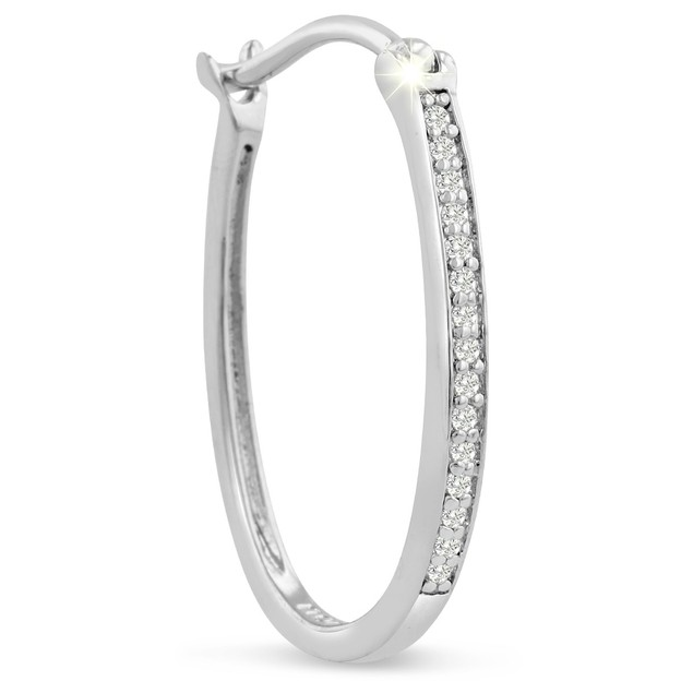 1/4ct Oval Shape Diamond Hoop Earrings