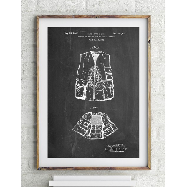 Hunting and Fishing Vest Patent Poster