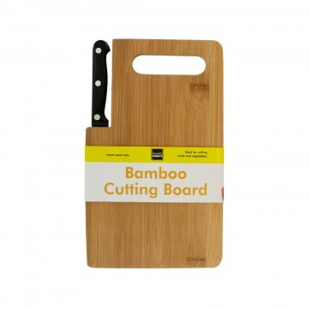 Bamboo Cutting Board with Built-In Knife