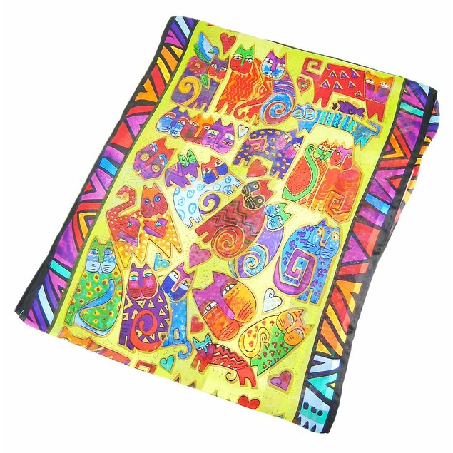 Laurel Burch `Karly`S Cats` Solid Silk Scarf Womens Fashion Scarves