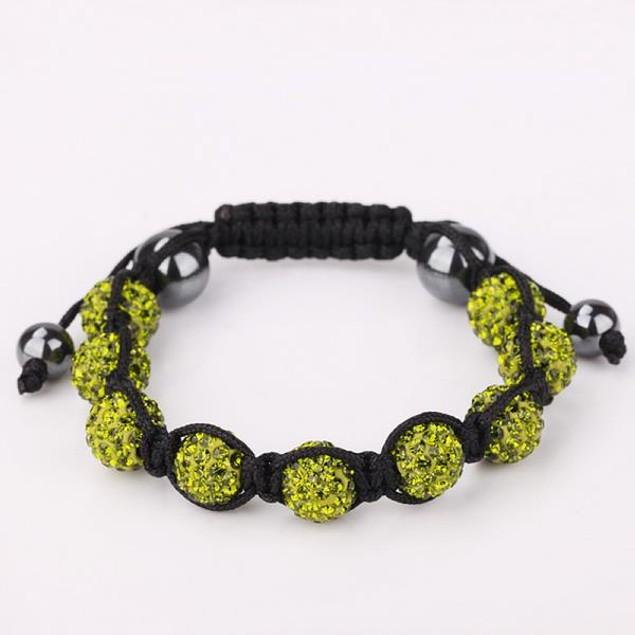 80's Glam Eight Beads Austrian Crystal Bracelet - Light Emerald