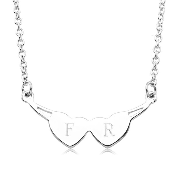 Personalized Wings Heart Drop Necklace