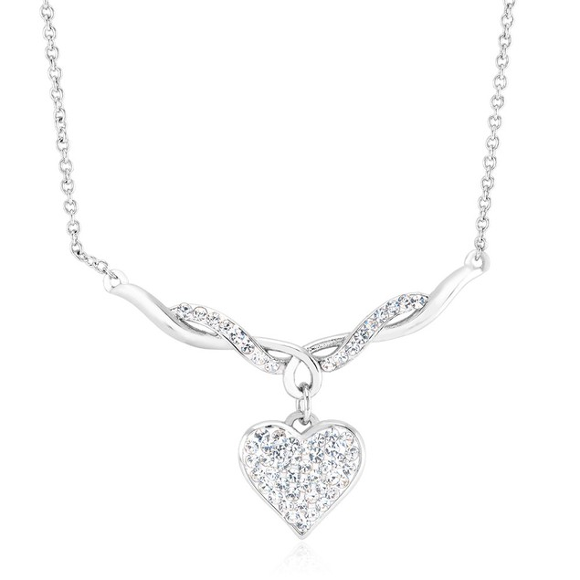 White Gold Plated Twisted Crystal Heart Necklace