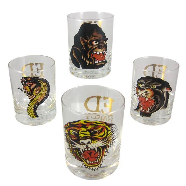Set Of 4 Ed Hardy Predators Double Rocks Glasses Shot Glasses