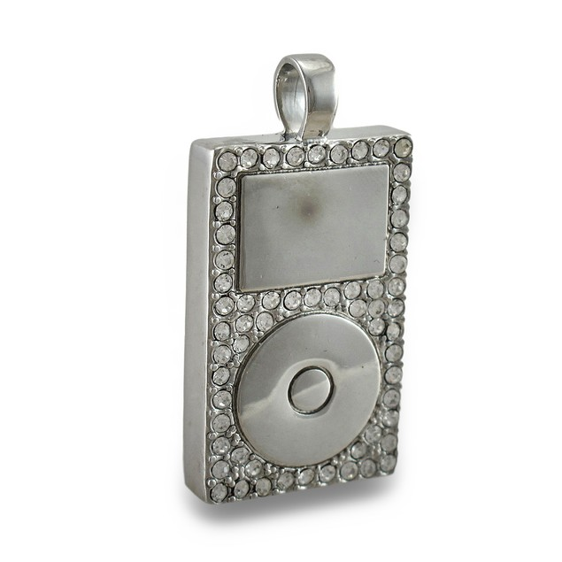 Chrome Rhinestone Encrusted Mp3 Player Pendant Mens Pendants