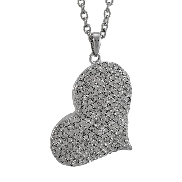 Large Rhinestone Encrusted Heart Necklace / Womens Pendant Necklaces