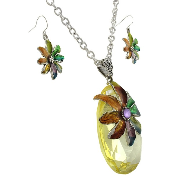 Rainbow Enamel Flower On Large Faceted Crystal Womens Earring And Necklace