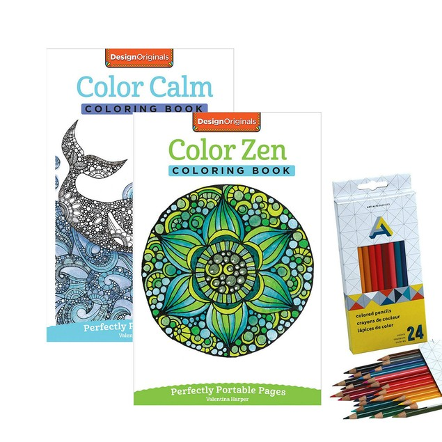 2-Pack of Adult Coloring Books with 24 Colored Pencils