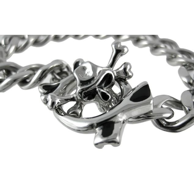 Stainless Steel Curb Link Bracelet W/ Skull Toggle Mens Chain Bracelets
