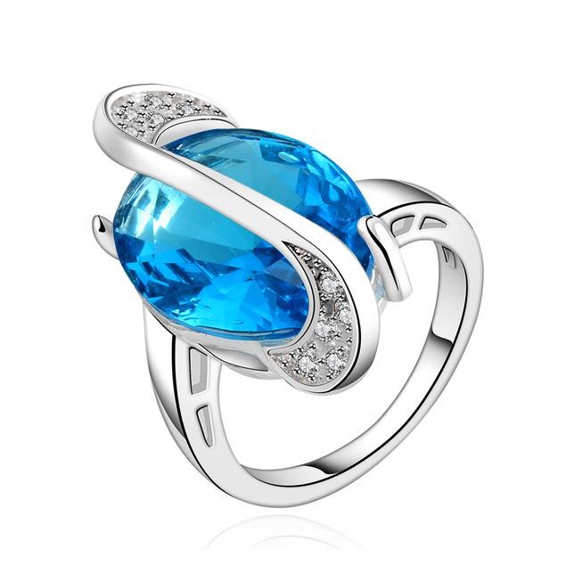 Imitation Sapphire Gem Curved Lining Insert Ring