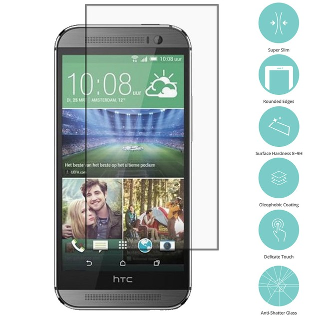 HTC One M8 Tempered Glass Film Screen Protector Clear