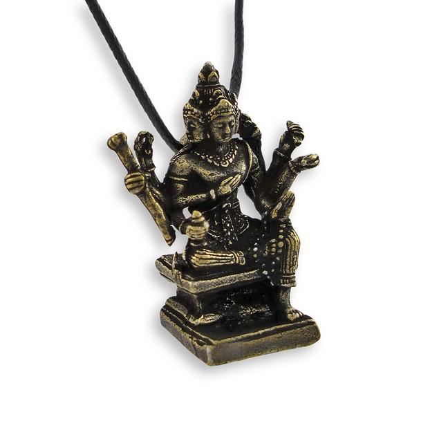 Brass Plated Hindu God Brahma 3-D Pendant Mens Pendant Necklaces