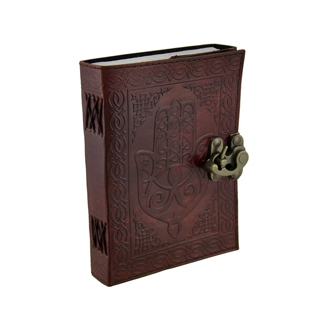 Hamsa Hand Brown Embossed Leather Bound Journal Art Sketchbooks And