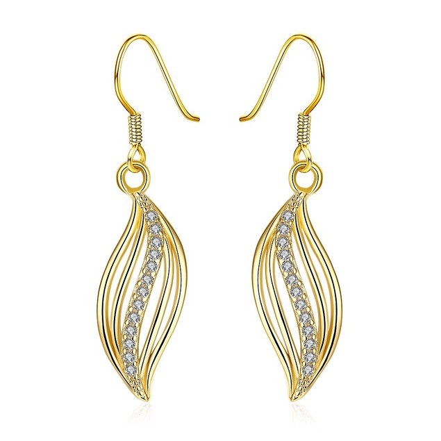 Gold Plated Comet Inspired Drop Down Earrings