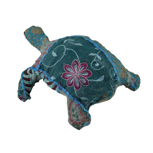 Blue Vintage Sari Fabric Covered Paper Mache Sea Statues