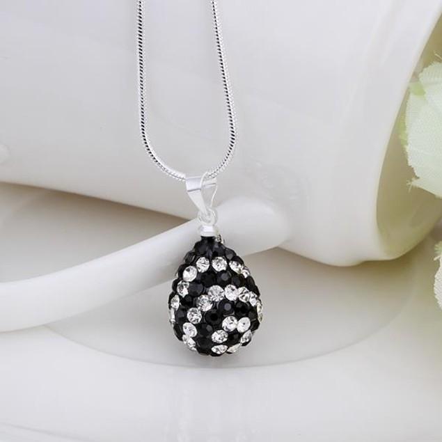 Multi-Toned Austrian Stone Pear Necklace - Onyx