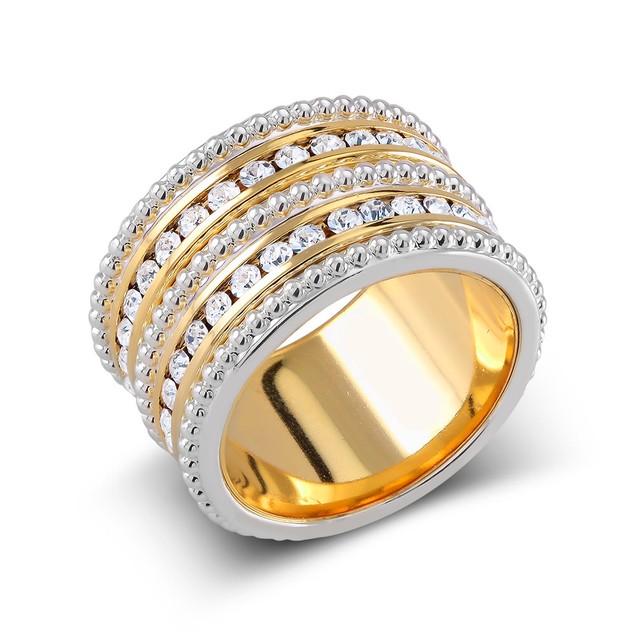 Fancy Gold Plated Preciosa Crystal Eternity Band Ring