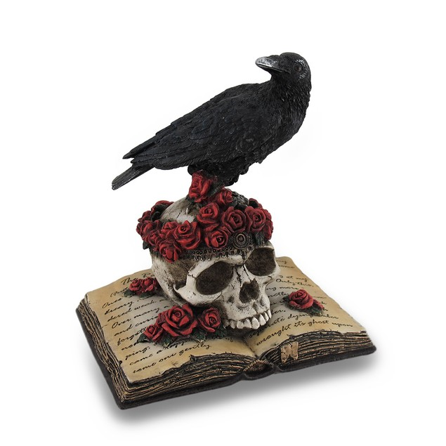 Perched Raven On Rose Skull And Open Poetry Book Statues