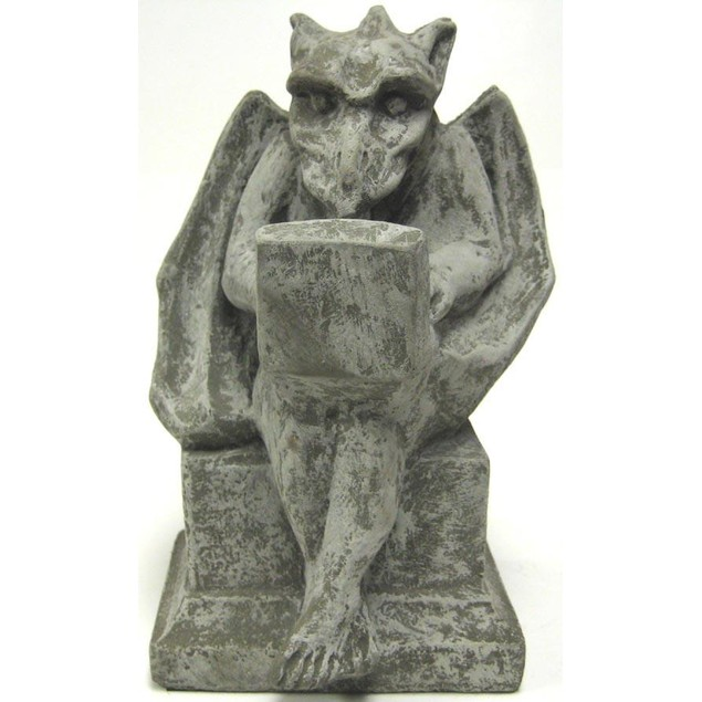 Gargoyle With Laptop Computer Concrete Statue Statues