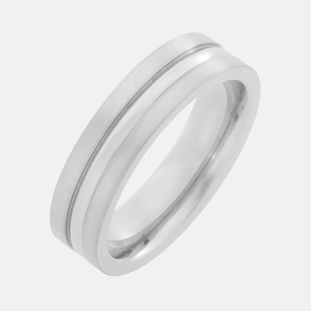 6mm Titanium Ring Brushed Flat Top w/ Ctr Groove