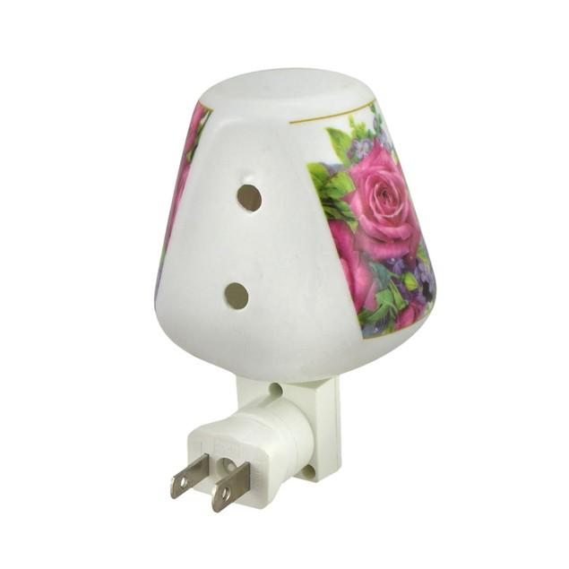 Pink Roses Floral Design Porcelain Oil Warmer Night Lights