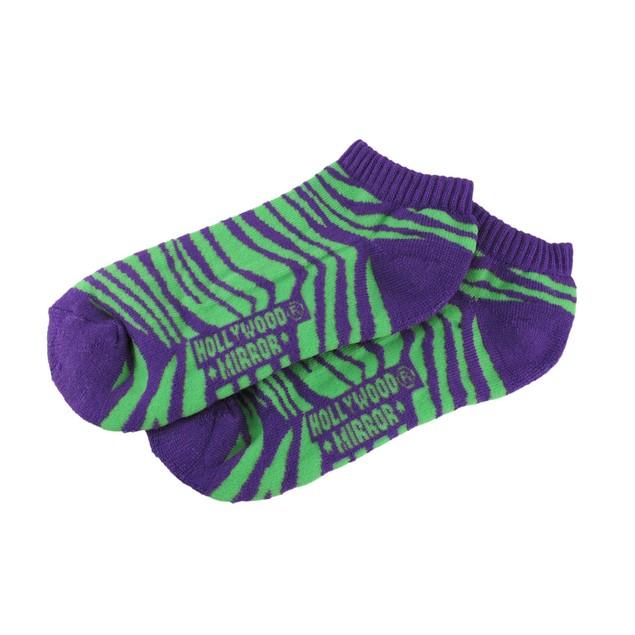 Women`S Purple And Green Zebra Heavy Ankle Socks Womens Casual Socks