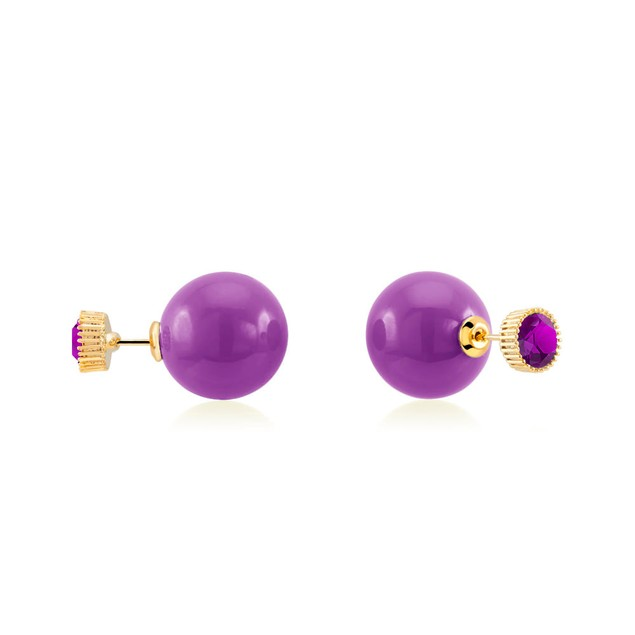 Gold Plated Purple Gemstone  Double Sided Earrings