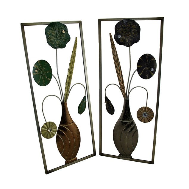 2 Pc. Green And Lavender Jeweled Metal Flowers Wall Sculptures