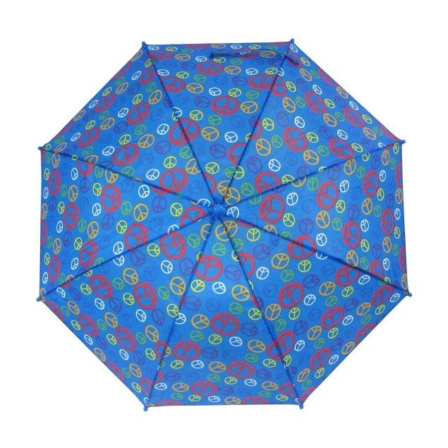 Peace Sign 34 Inch Blue Mini Stick Umbrella Umbrellas