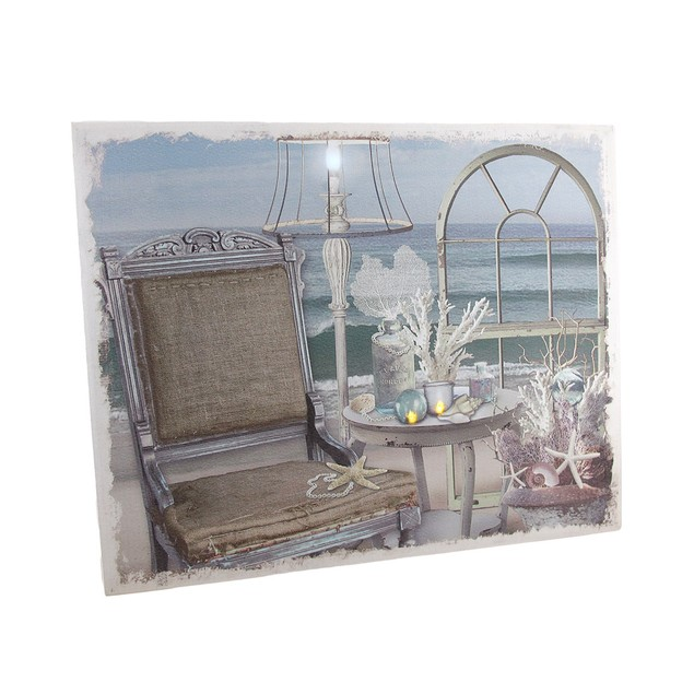 Chic Seaside Retreat Led Lighted Canvas Wall Prints