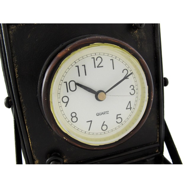Reproduction Metal Vintage Camera With Bellows Shelf Clocks