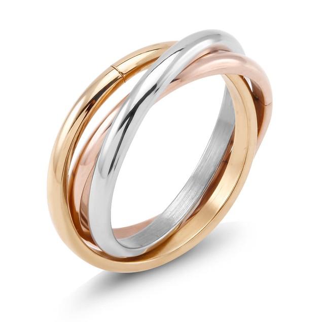 Designer Inspired Tri Color Rolling Ring
