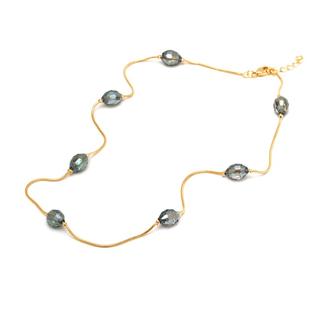 Gold and Metallic Grey Beads Necklace