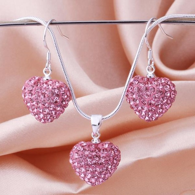 Austrian Stone Solid-Pave Heart Earring and Necklace Set - Solid Fusion