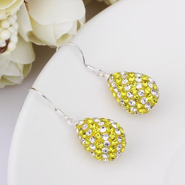 Two Toned Austrian Stone Pear Shaped Drop Earrings -Yellow Citrine