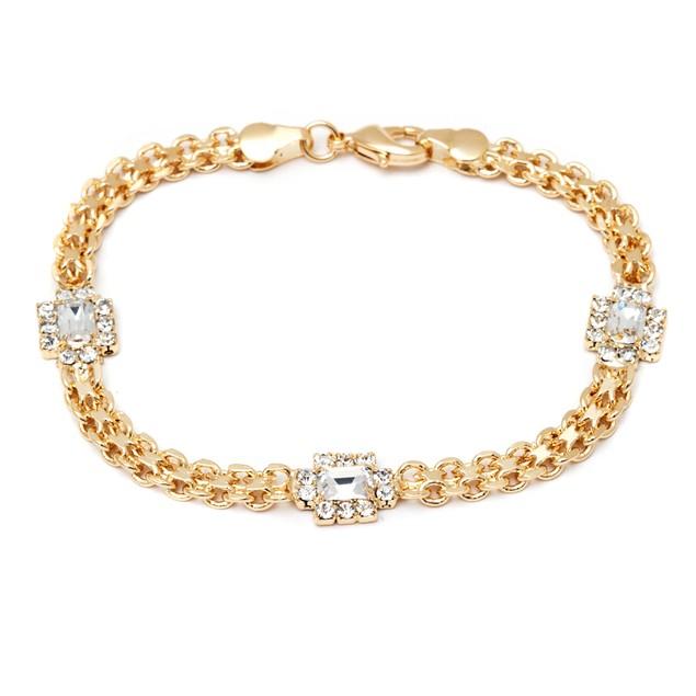 18K Gold and Crystal Frame Bracelet