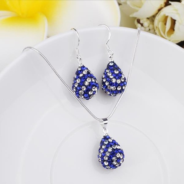 Austrian Stone Multi-Pave Pear Earring and Necklace Set - Royal Blue