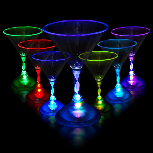 2-Pack LED Color-Changing Cocktail Glasses