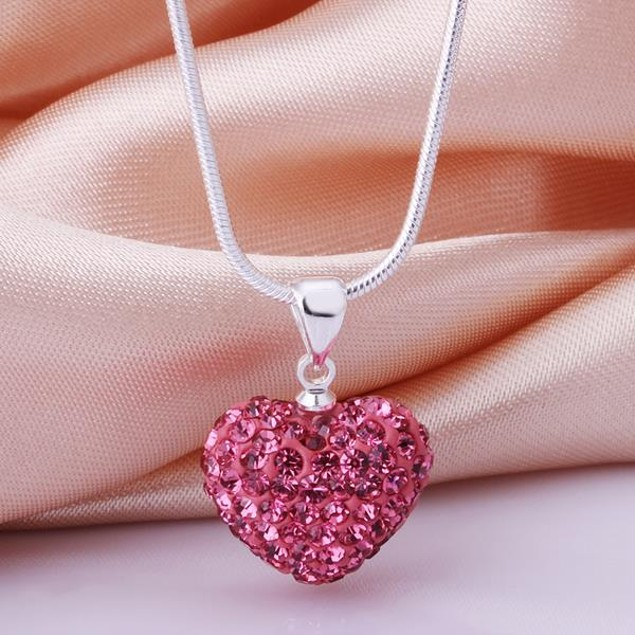 Solid Austrian Stone Crystal Heart Shaped Necklace - Bright Coral