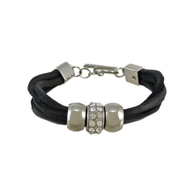 Black Leather 3 Bead Multi Strand Bracelet Womens Leather Bracelets