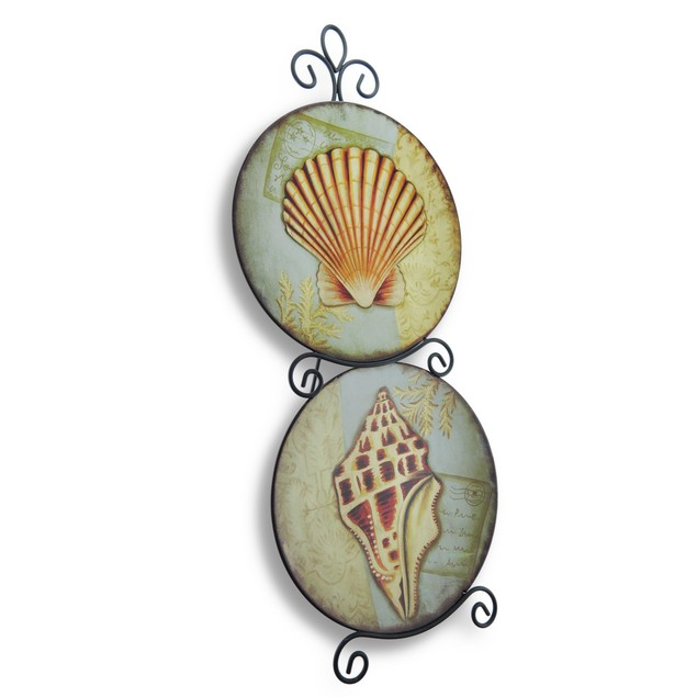 Metal Seashell Double Plate Decorative Display 23 Decorative Plates