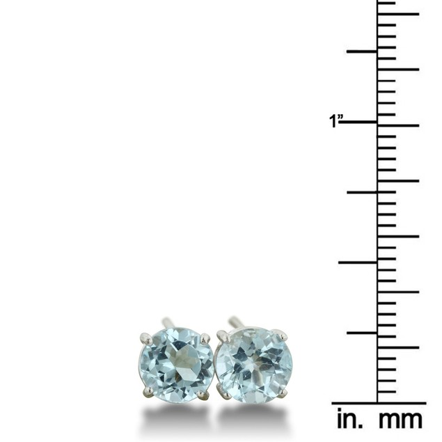 Round Blue Topaz Earrings in Sterling Silver