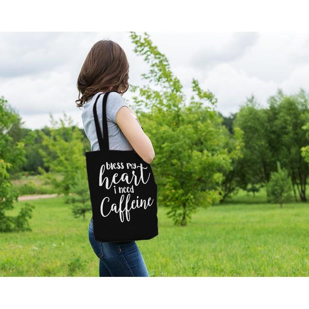 Bless My Heart I Need Caffeine Black Tote Bag