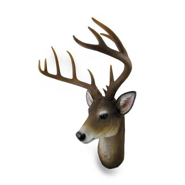 12 Point Buck Deer Head Bust Wall Hanging Wall Sculptures