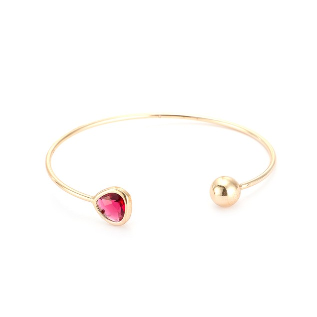 Gold Plated Open Red Gem Bangle